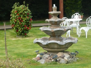 The fountain gives a relaxing sound.